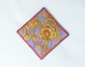 handmade silk embroidered square brooch