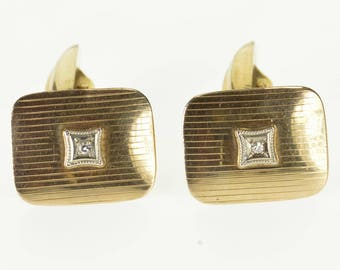 10k Diamond Inset Curved Pinstriped Rounded Square Cuff Links Gold
