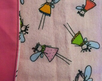 Baby Blanket with Pink Fairy Cotton Flannel and Pink Cotton backing. 41in x 16 in. Handmade.