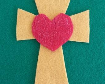 Felt Cross Heart Ornment