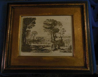 Antique Etching / Engraving Pastorale by Lorraine framed behind glass