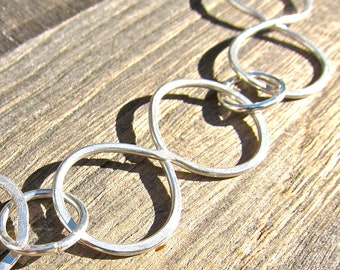 Infinity Link, Hammered, Argentium Sterling Silver Necklace, Ready to Ship