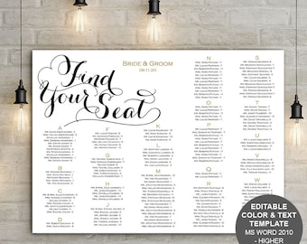 Modern rustic wedding seating chart poster| DIy wedding seating arrangement| Find your seat sign | You edit the text| FS11