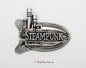 """A great looking Airship with lots of detail, 3 smoke stacks and the word """"Steampunk"""" right on it - declare your style!  - pewter double tac"""