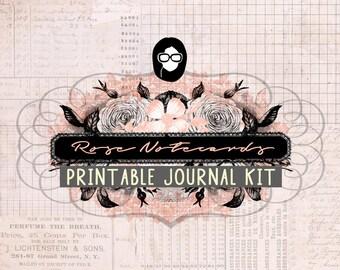 Junk Journal kit - Rose Notecards - 22 Journal Refill Pages - printable diary pack, vintage junk journal, floral digital paper, diy journal