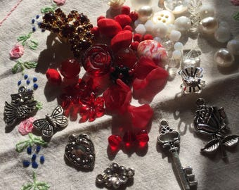 Junk Journal Charm Kit reds, whites and silver tones 1b