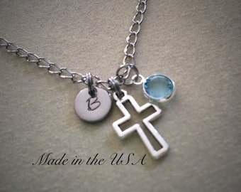 Cross necklace Birthstone necklace Initial necklace Personalized jewelry Monogram Best friend necklace Inspirational jewelry Religious