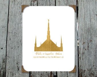 Sealed for Eternity DALLAS TX  LDS Temple - custom printable with wedding date and names - Printable Artwork, digital download to be emailed