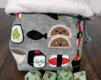 Reversible SUSHI Dice Bag with Gray Paracord