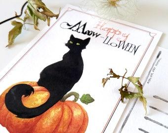 Postcard Black Cat Halloween: Ink and watercolor illustration print, Chat noir, pumpkin, Letter writing, Correspondence