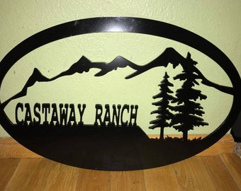 Mountains w/ Pine trees oval sign