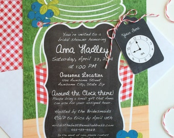 Around The Clock Invitation with Mason Jar, Picnic Table and Berries