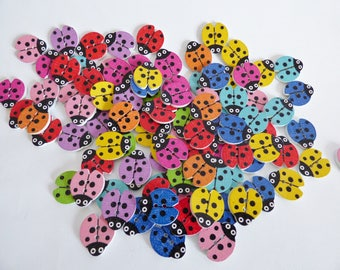 set of 6 wooden Ladybug buttons
