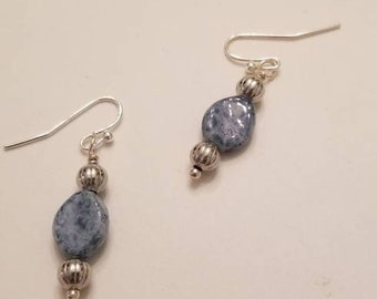 Blue earrings, blue glass earrings, sky blue earrings, denim blue earrings