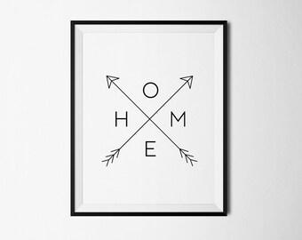 Home print, Home arrow print, Printable wall art, Home printable, Black and white, Arrow art, Arrow print, Digital Art, Home wall print