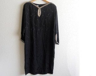 vintage 1980s black silk beaded shift dress