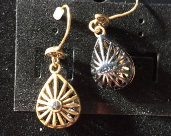 Pilgrim - Gold cage teardrop shaped hook earrings