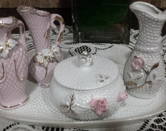 Six piece 1958 Hobnail Vanity Set