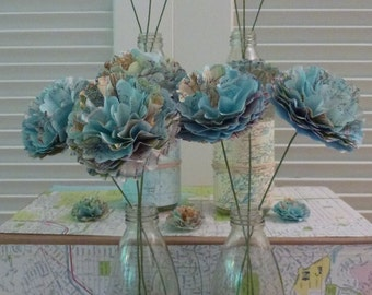 Map Paper Flower WITH STEM ~ Set of 6 ~ Handmade