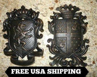 Set of 2 Shield wall plaques - FREE USA SHIPPING - coat of arms wall decor Medieval Old World style Hand Painted