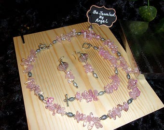 Pink Ice Flake Quartz Jewelry Gift Set, Necklace, Bracelet and Earrings, Women's Gift Set