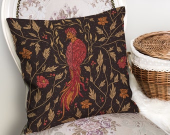 "Large Mythical Phoenix Throw Pillowcase Cushion Cover. 18"" x 18"" Inches. Velveteen or Canvas Upholstery Fabric, Fantastic Beasts, Medieval"
