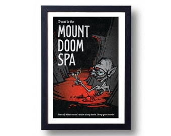 Lord of the Rings Poster Gollum Mount Doom Spa Travel Poster, Lord of the Rings, Lord of the Rings Art, LOTR Art, Mount Doom, Smeagol