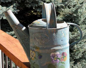 Antique Watering Can Hand Painted