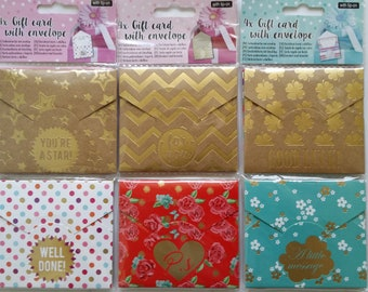 Set of 4 cards and matching envelopes (3 designs)