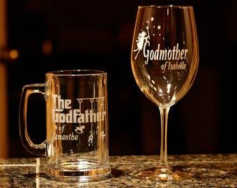 Custom Engraved Godmother Wine Glass Godfather Beer Mug Set, Godmother Wine Glass, Godfather Beer Mug, Godparents Gift, Godparents Glass