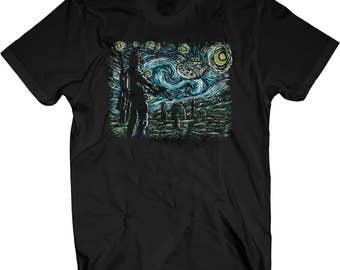 Boba Fett Starry Night Van Gogh Star Wars Mash up Painting T-shirt- Unsex Sizes S-5XL Full colour print