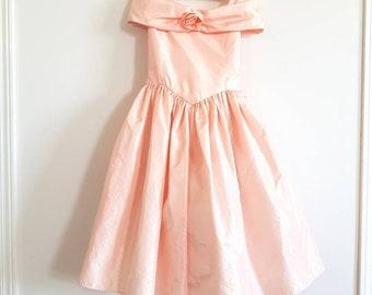 Vintage Peach Off-The-Shoulder Girl's Dress