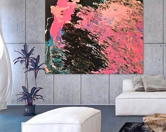 Large Abstract Painting Print On Canvas Pink Black Blue White
