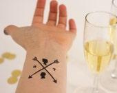 Wedding Temporary Tattoos, Arrow Tattoo, Custom Tattoo, Personalized Tattoo, Wedding Logo, Bride & Groom, Couple Silhouette, Wedding Favors