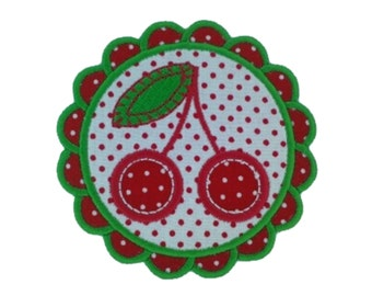 Iron on Patch Applique Polka Dot Cherry