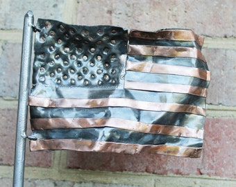 American Flag Pen Holder, Recycled Metal Sculpture