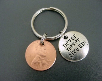 Never Give Up Keychain / Lucky Penny Keychain /Zipper Pull / Motivational Keychain / Inspirational Coin Keychain / Copper Keychain  /