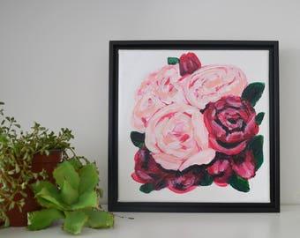 Peony Mini Acrylic Framed 8 x 8