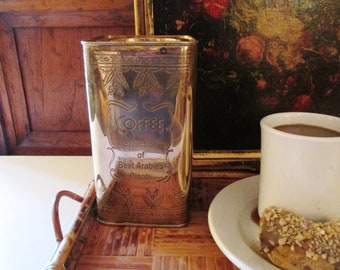 Brass Coffee Can, Vintage Brass Canister, Kitchen Decor, Arabica Coffee, Brass Box, Brass Tin Style Box, British Colonial,  Farmhouse Chic