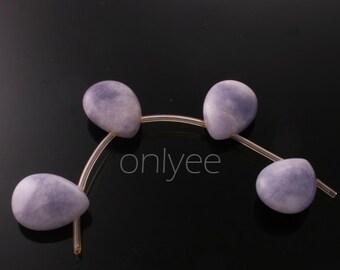 4pcs-16mmX12mm Candy jade soomth Puffy teardrops in multicolor 2Clors-Purple( L125-B)