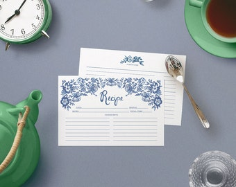 Recipe Cards Set of 15, 30 or 50  - Toile Floral Border Design - 4x6 Recipe Cards - High Quality Linen Cardstock