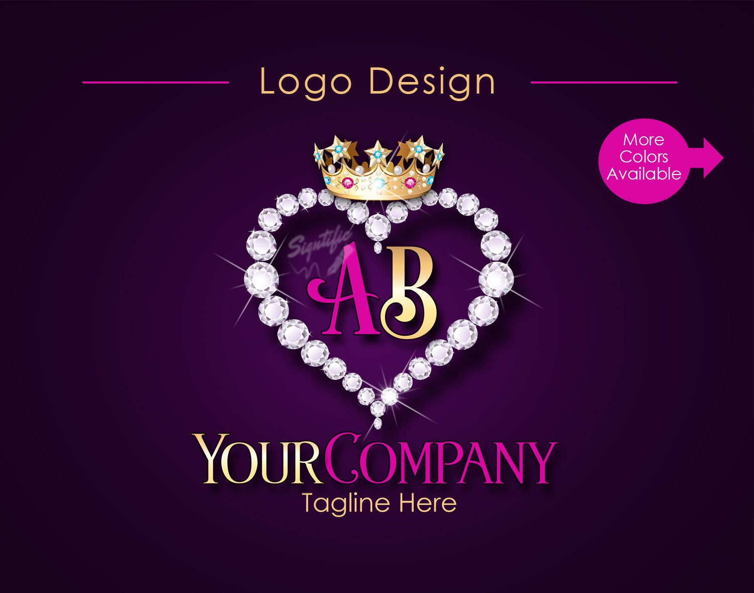 Famous Business Diamond Heart Bling Crown Initials Logo, Company Logo  PW17