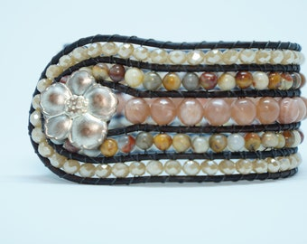 Rose Quartz, Venus Jasper, and crystal leather beaded cuff bracelet