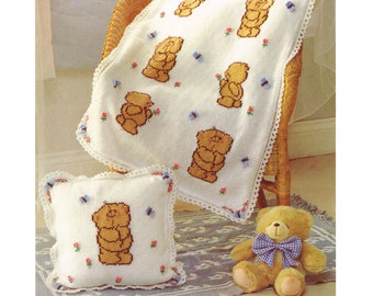 forever friends cushion cover and blanket dk knitting pattern