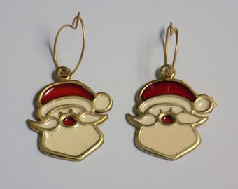 Vintage Stained Glass Santa Earrings