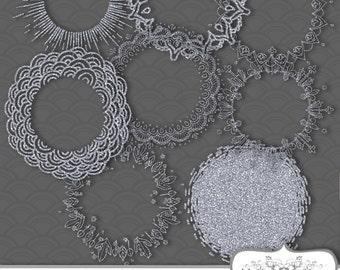 8 Silver Glitter Frames Tags Digital Clip Art. Printable Instant Download for Personal and Commercial Use. JPG & PNG.