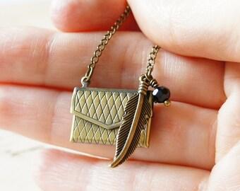 Locket Necklace, Purse Locket, Mini Purse Pendant, Antiqued Brass Necklace, Antiqued Brass Pendant, Metal Necklace, Metal Pendant