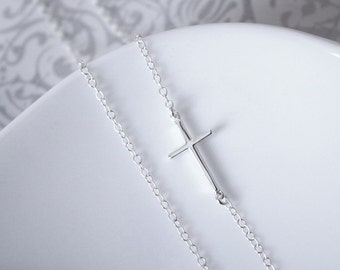 Sideways Cross Necklace, Sterling Silver Sideways Cross Necklace Silver Cross Necklace Sideways Cross Jewelry Baptism Gift Confirmation Gift