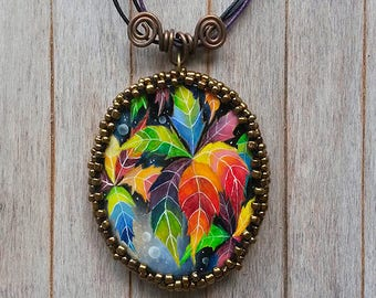 Original oil painting pendant, Painted pendant, Oil painting necklace, Painted foliage, foliage painting