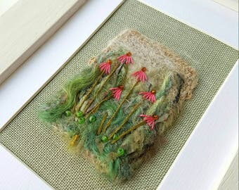 SALE Original needle felted and embroidered flowers collage